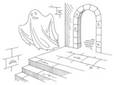 Ghost flying in the hallway of the castle graphic black white sketch illustration vector - 234409538