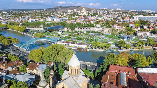 Tbilisi skyline aerial drone view from above, Kura river and old town of Tbilisi cityscape, Georgia