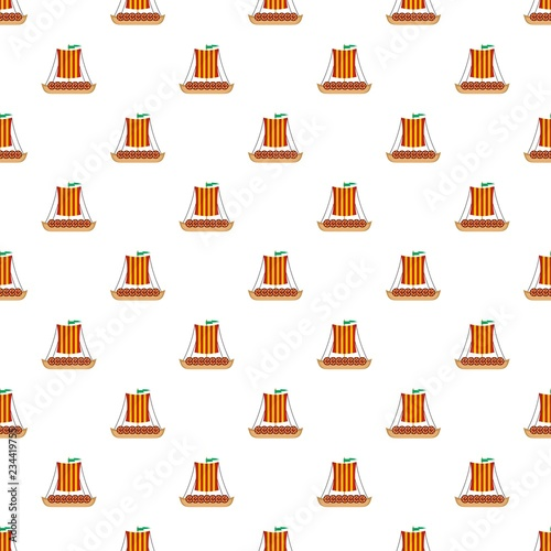 Viking Ship Pattern Seamless Vector Repeat For Any Web Design