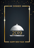 2019, New Year's Eve dinner, template for poster, cover and menu. Vector illustration - 234421396
