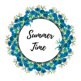 greeting card  with cornflowers and text Summer time