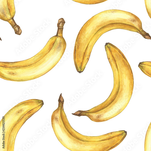 Watercolor seamless pattern with bananas. Hand painted tropical fruit on white background. - 234425530