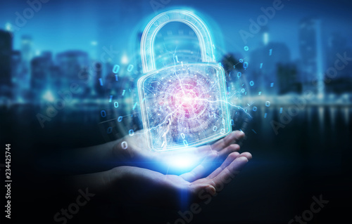 Web security protection interface used by businesswoman 3D rendering