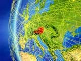 Austria from space on model of Earth with international network. Concept of digital communication or travel. - 234426502