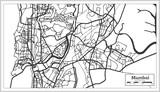 Mumbai India City Map in Retro Style. Outline Map.