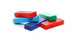 Leinwanddruck Bild - Wooden colorful building blocks for children, tower games isolated on white background