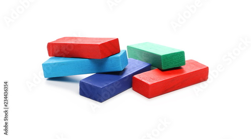 Leinwanddruck Bild Wooden colorful building blocks for children, tower games isolated on white background
