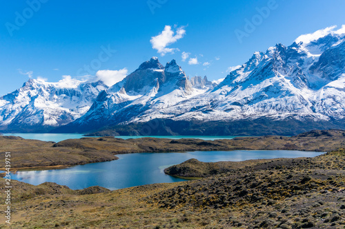 Leinwandbild Motiv Mountains and lake in Torres del Paine National Park in Chile