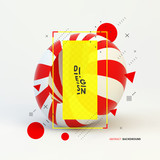 3d abstract vector illustration. Striped object.