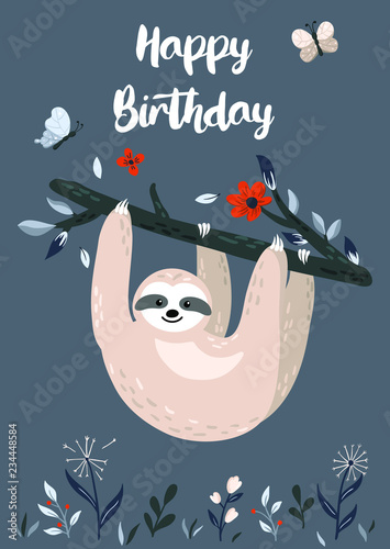 Happy Birthday design with cute baby sloth hanging on the tree. Unique hand drawn cartoon animal for greeting card, poster, banner. Vector illustration - 234448584