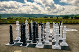Big Chess pieces on a board in an open-air park.