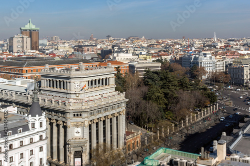 fototapeta na ścianę Amazing Panoramic view of city of Madrid from the roof of Circulo de Bellas Artes, Spain