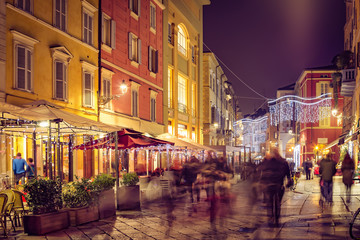 Old street in night in Parma town, Emilia-Romagna province, Italy © iryna1