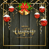 Black Wooden Background with Christmas Balls