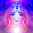 Leinwanddruck Bild - Woman with third eye, psychic supernatural senses