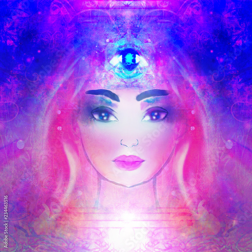 Leinwanddruck Bild Woman with third eye, psychic supernatural senses