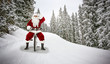 Leinwanddruck Bild - Santa Claus on winter road