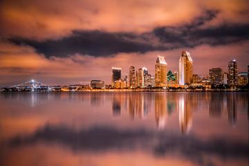 Beautiful San Diego California skyline and bay seen at night