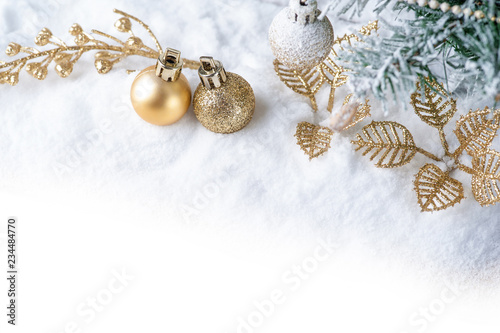 Merry Christmas.Christmas decoration with Gold ball on snow. - 234484770