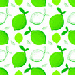 Leinwandbild Motiv Lime seamless pattern. Colorful sketch limes. Citrus fruit background. Elements for menu, greeting cards, wrapping paper, cosmetics packaging, posters etc