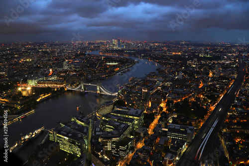 Night view of the Tower Bridge in London from the Shard