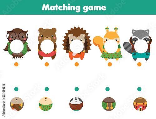 fototapeta na ścianę Matching educational game. match parts of animals. Activity page for kids, children, toddlers.