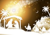 The Holy Family With King Wise Men on Golden Sky - 234515743