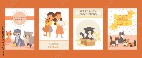 fototapeta na ścianę Children with pets adopt friendship cards vector illustration. Love child and cat posters.