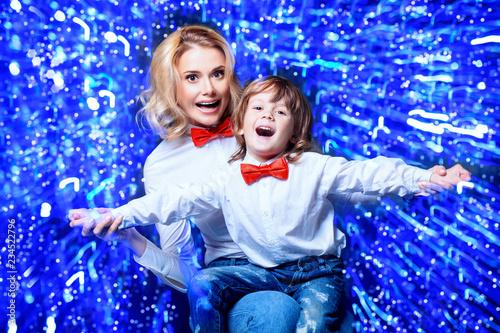 Leinwandbild Motiv happy mom with son