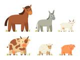 Big Farm Animals Vector Illustration Set Poster