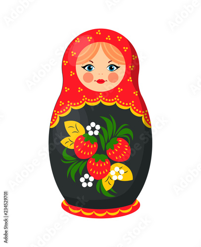 Russian Nesting Doll Closeup Vector Illustration © robu_s