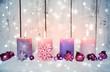 Leinwanddruck Bild - Adventskerzen rosa - Nostalgische Weihnachten
