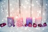 Adventskerzen rosa - Nostalgische Weihnachten
