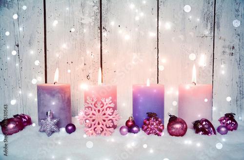 Leinwanddruck Bild Adventskerzen rosa - Nostalgische Weihnachten