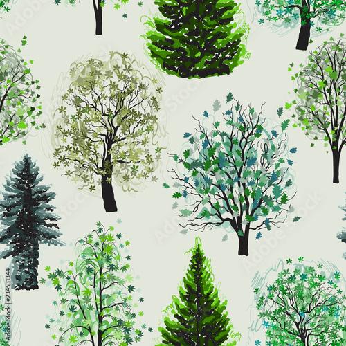 fototapeta na ścianę Seamless pattern with Deciduous and coniferous green trees set.