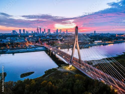 Beautiful sunset city panorama in Warsaw