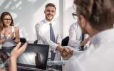 handshake of business people on a work Desk.
