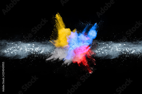 abstract colored dust explosion on a black background.abstract powder splatted background,Freeze motion of color powder exploding/throwing color powder, multicolored glitter texture. - 234543955