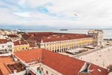 Beautiful aerial Lisbon view from above near city center and famous Comercio Square. © ingusk