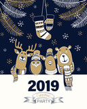 Christmas party 2019 poster or invitation with cute cartoon animals.
