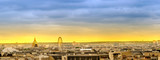 Panorama of Paris skyline at sunset with view of landmarks, Pantheon, Ferris wheel at concorde, Gallerie Lafayete roof