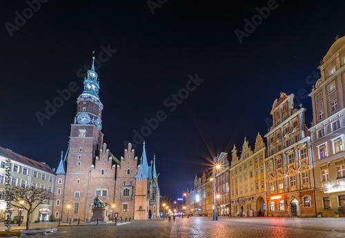 Wrocławski Ratusz Staromiejski nocą