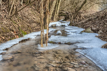 Vereister Wildbach im Winter