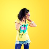 Beautiful disco african girl with headphones