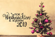 Leinwanddruck Bild - Tree With Purple Balls, Calligraphy Glueckliches 2019 Means Happy 2019