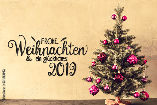 Leinwanddruck Bild Tree With Purple Balls, Calligraphy Glueckliches 2019 Means Happy 2019