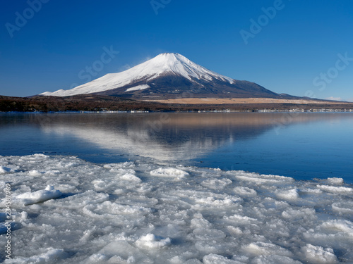 富士山 冬景色 日本の山梨県山中湖村