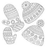 Hats and mittens graphic black white doodle isolated set illustration vector - 234602136