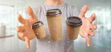 """Постер, картина, фотообои """"Group of cardbox coffee cup with connection 3d rendering"""""""