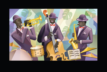 Jazz band on a colorful background © Isaxar